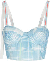 Rosie Assoulin Plaid Linen Bustier Top
