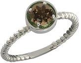 Gem Stone King 0.46 Ct Round Smoky Quartz 14k White Gold Ring