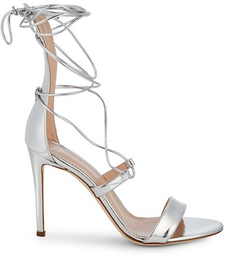 Giuseppe Zanotti Metallic Leather Lace-Up High Heel Sandals