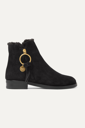 See by Chloe Shearling-lined Suede Ankle Boots - Black