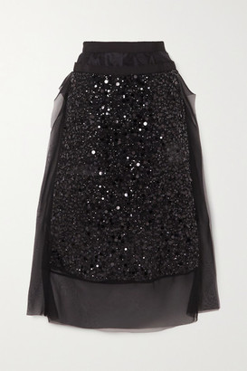 Sacai Sequin-embellished Satin And Grosgrain-trimmed Chiffon Midi Skirt - Black