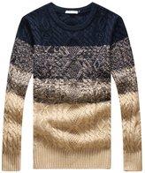 QZUnique Men's Classic Crewneck Pullover Sweater Gradient Color 2XL