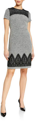 Karl Lagerfeld Paris Short-Sleeve Knit Dress with Lace