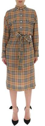 Burberry Check Pattern Tie-Waist Dress