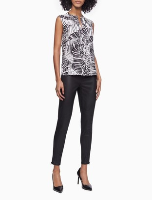 Calvin Klein Printed V-Neck Pleat Front Sleeveless Top