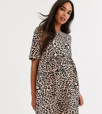 Asos DESIGN Maternity smock mini dress in leopard print