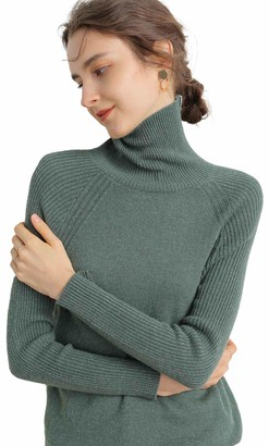 Liny Xin Women's Merino Wool Knitted Long Sleeve Soft Lightweight Fall Winter Warm Ladies Sweater Turtleneck Jumper (M Olive)