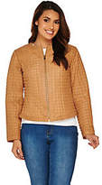 C. Wonder Quilted Leather Jacket withWhipstitch Dtl
