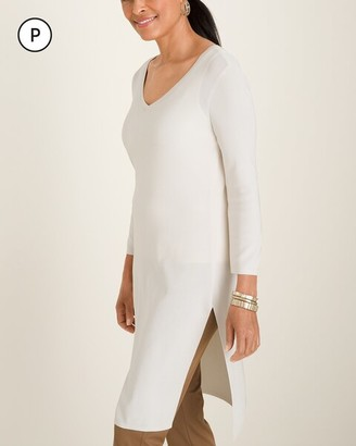 Travelers Collection Petite Long V-Neck Ribbed Tunic