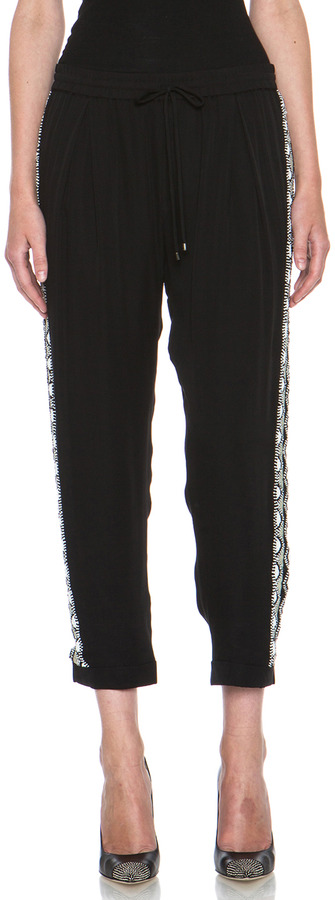 Haute Hippie Trouser with Embellished Tux Stripe in Black & White
