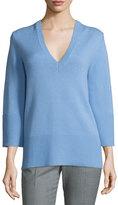 Michael Kors Cashmere V-Neck Tunic Sweater, Powder Blue