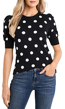 CeCe Puff Sleeve Polka Dot Sweater
