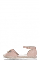 Quiz Pink Flower Sequin Hessian Pumps