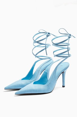 Topshop Womens Florence Blue Pointed Heels - Blue