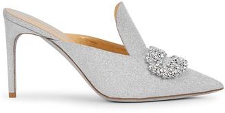 Giannico Daphne 90 crystal-embellished glittered mules