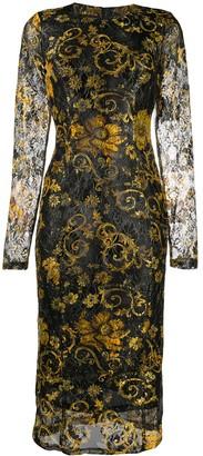 Versace Printed Long-Sleeved Midi Dress