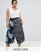 Asos Mixed Floral Pleated Culottes