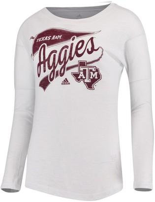 adidas Women's White Texas A&M Aggies Pennant Pride Tri-Blend Long-Sleeve T-Shirt