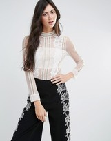 Endless Rose Long Sleeve Sheer Shirt With Lace Detail