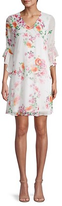 Calvin Klein Floral Bell-Sleeve Shift Dress