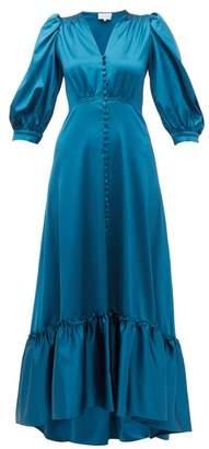 Luisa Beccaria V Neck Puff Sleeved Gathered Satin Dress - Womens - Blue