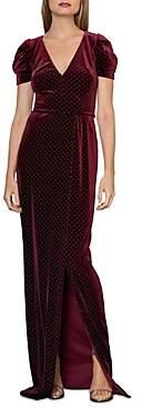 ML Monique Lhuillier Studded Velvet Gown