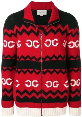Gucci mirrored GG wool jacket