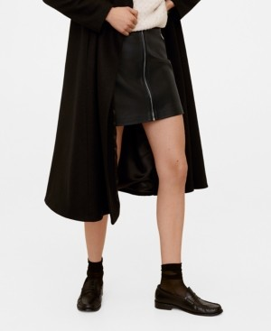 MANGO Faux Leather Zip Skirt