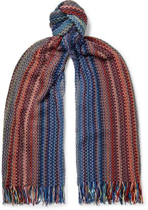 Missoni Fringed Crochet-Knit Striped Wool Scarf