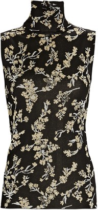 Paco Rabanne Sleeveless Floral Lurex Turtleneck Top