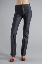 Plain Front Straight Leg Jeans in Raw Blue