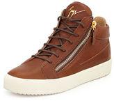 Giuseppe Zanotti Men's Leather Mid-Top Sneaker, Brown