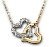 Swarovski Gold Tone and Crystal Double Heart Necklace