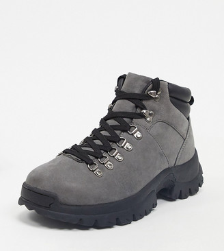 Asos DESIGN Wide Fit hiker boots in gray faux suede