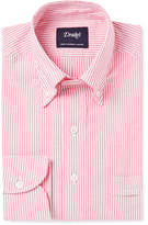 Drakes Drake's - Red Slim-Fit Button-Down Collar Cotton Oxford Shirt