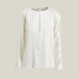 Yumi La Collection White Slit Neck Silk-Satin Blouse Size M