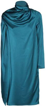 Gianluca Capannolo Teal Draped Neckline Dress