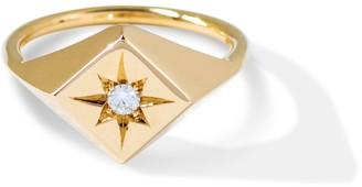 Futaba Hayashi North Star Signet Ring With White Diamond 14k Yellow Gold