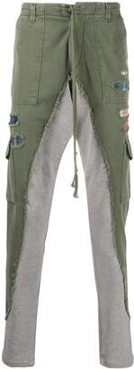 Greg Lauren Contrast-Leg Cargo Trousers