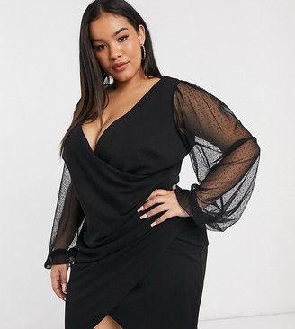 ASOS DESIGN Curve balloon sleeve dobby mesh wrap plunge mini dress in black