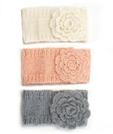 Headband, Flower Ribbed Knit Ear Warmer