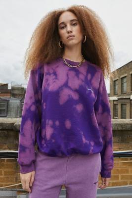 Iets Frans... iets frans. Unisex Purple Bleach Dye Crew Neck Sweatshirt - Purple S at Urban Outfitters