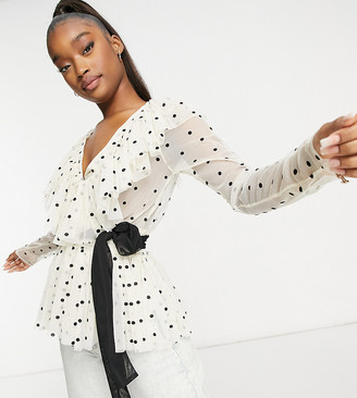 Lace & Beads ruffle blouse with contrast black tie waist in cream polka top