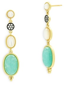 Freida Rothman Touch of Turquoise Cubic Zirconia, Mother of Pearl & Amazonite Gradient Drop Earrings in Black & Gold Tone Sterling Silver