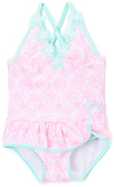 Juicy Couture Pink & Aqua Floral Skirted One-Piece - Girls