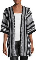 Alberto Makali Multipattern Knit Cardigan with Studded Trim, Black/White