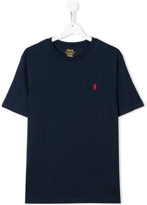 Ralph Lauren Kids TEEN cotton logo embroidered T-shirt