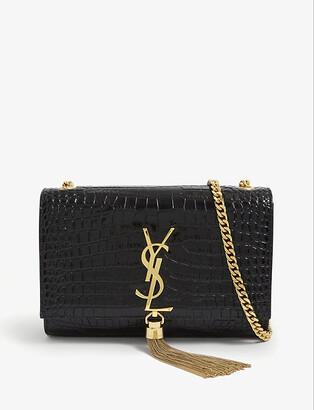 Saint Laurent Kate small monogram crocodile-embossed leather wallet-on-chain