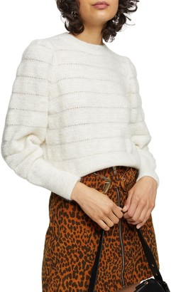 Topshop Pointelle Stripe Sweater