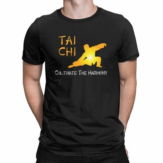 Kaiyuan Chinese Style Men Tshirt Tai Chi Cultivate The Harmony T Shirts 100% Cotton Tops Unique Crew Neck Tee Shirt Printed T-Shirts-Black XXL
